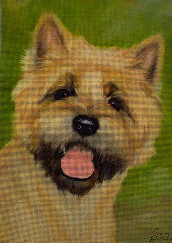 Needlepoint canvas 'Cairn Terrier Dog.Cherry'