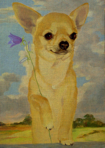 Needlepoint canvas 'Chihuahua dog.Bluebell'