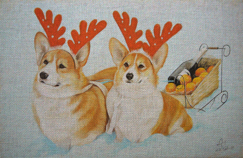 Needlepoint canvas 'Christmas Corgis dogs'