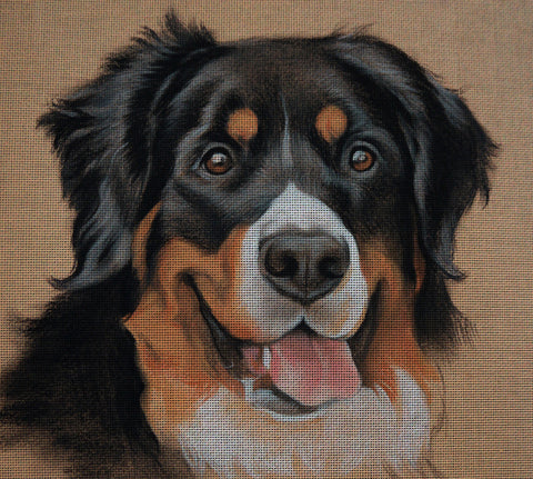 Needlepoint canvas 'Bernese Mountain Smiling Dog'