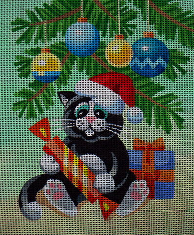 Needlepoint canvas 'Sweet cat under a Christmas Tree'