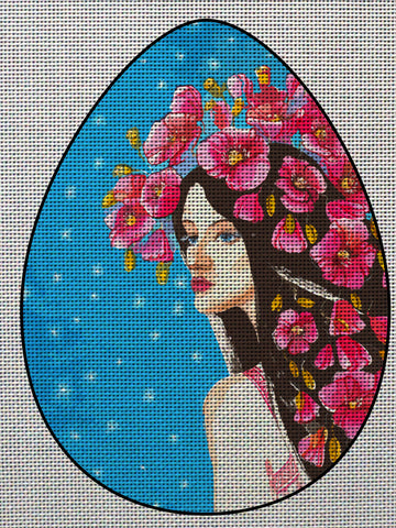 Needlepoint canvas 'Easter Egg Lady with Flowers'
