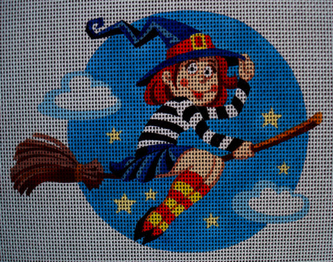 Needlepoint canvas 'Cute Small Halloween Witch'