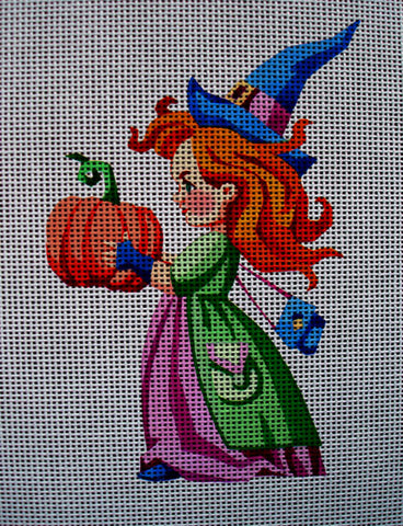 Needlepoint canvas 'Cute Halloween Witch'