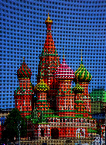 "Needlepoint canvas "" Saint Basil's Cathedral Moscow.Russia"""