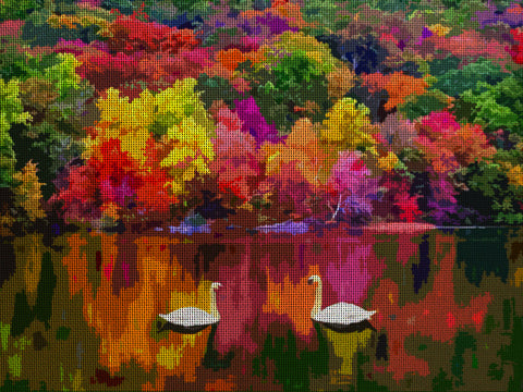 "Needlepoint canvas ""Fall in New Hampshire.MA """