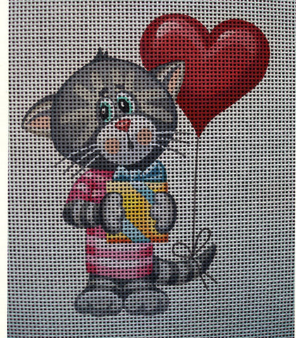 "Needlepoint canvas ""Cute Cat with Balloon & Gift"""