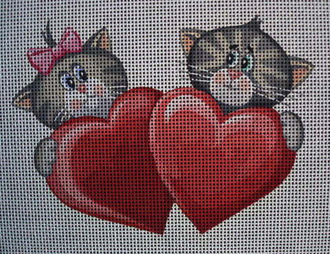 "Needlepoint canvas ""Cute Cats in Love"""