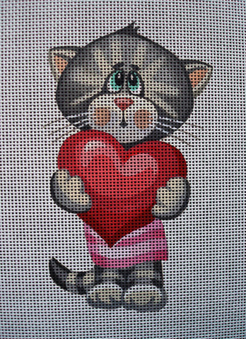 "Needlepoint canvas ""Cute Shay Cat with Heart"""
