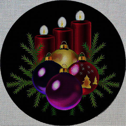 Needlepoint Canvas - Candles christmas tree decorations