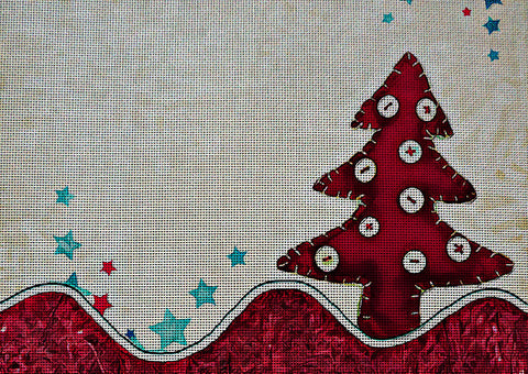 Needlepoint Canvas - Christmas tree card decoration