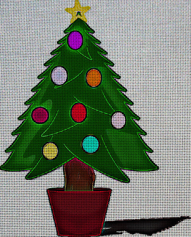 Needlepoint Canvas - Christmas tree christmas baubles