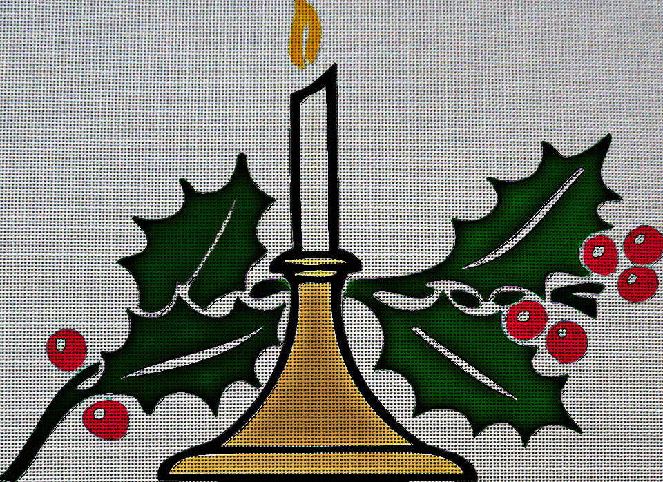Needlepoint Canvas - Christmas candle candlelight holly