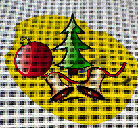 Needlepoint Canvas - Christmas tree bells christmas ball