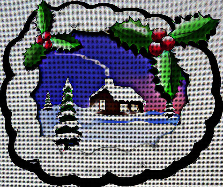 Needlepoint Canvas - Christmas xmas x mas landscape