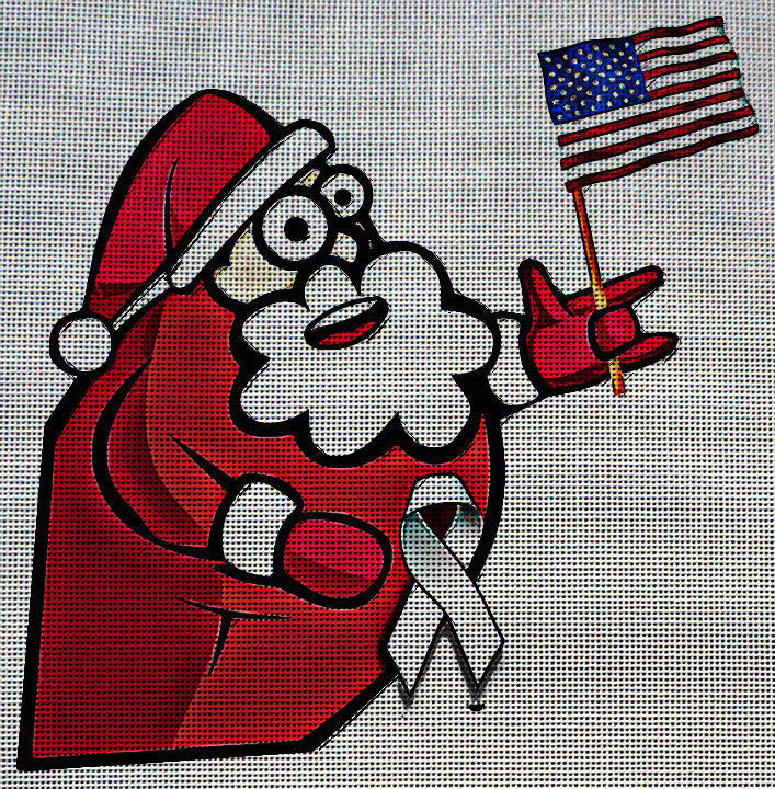 Needlepoint Canvas - Santa xmas man person usa flag