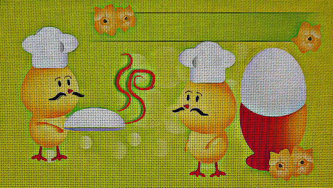 Needlepoint Canvas - Easter holidays chick egg spring