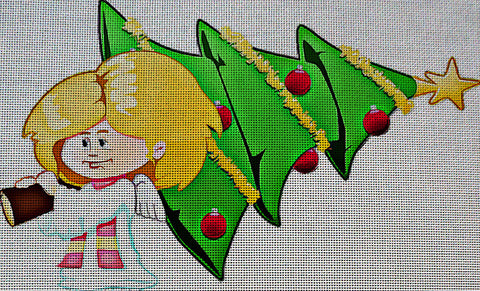 Needlepoint Canvas - Angel christmas christmas tree xmas