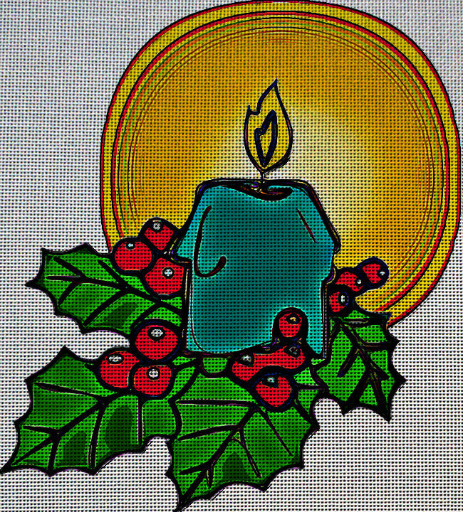 Needlepoint Canvas - Holly christmas candle decoration