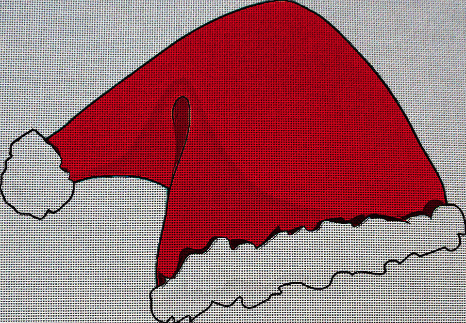 Needlepoint Canvas - Santa s hat santa claus christmas