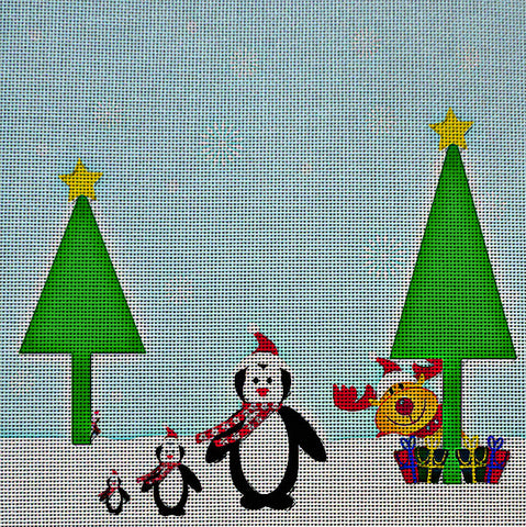 Needlepoint Canvas - Christmas penguin penguins reindeer