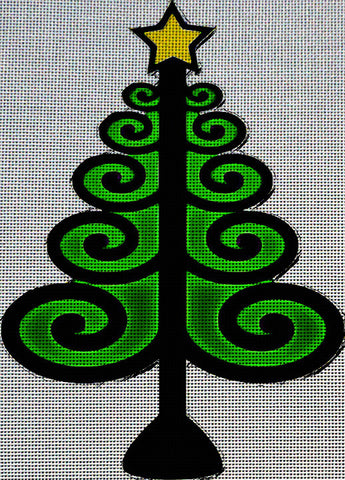 Needlepoint Canvas - Christmas tree christmas green star