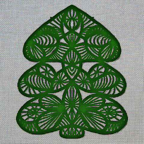 Needlepoint Canvas - Christmas tree bauble lace openwork