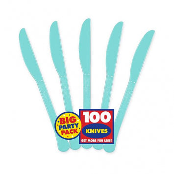 Robin's Egg Blue Big Party Pack Robin's Egg Blue Plastic Knives 100ct.