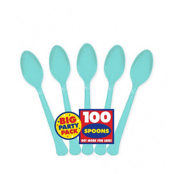 Robin's Egg Blue Big Party Pack Plastic Spoons 100ct.