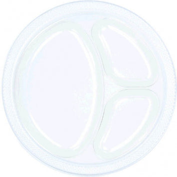 "Clear 10 1/4"" Divided Plastic Plates 20ct."
