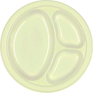 "Leaf Green 10 1/4"" Divided Plastic Plates 20ct."