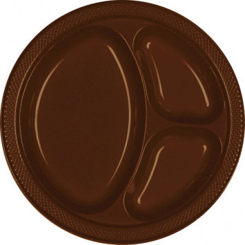 "Chocolate Brown 10 1/4"" Divided Plastic Plates 20ct."