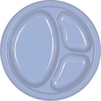 "Pastel Blue 10 1/4"" Divided Plastic Plates 20ct."