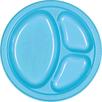 "Caribbean Blue 10 1/4"" Divided Plastic Plates 20ct."