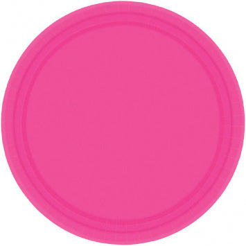 "Bright Pink 10 1/2"" Paper Plates 20ct."