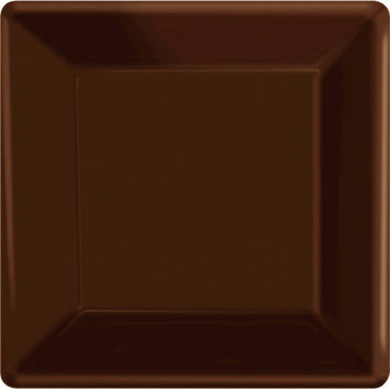 "Chocolate Brown 10"" Square Paper Plates 20ct."