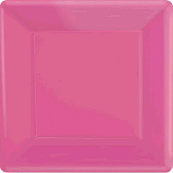 "Bright Pink 10"" Square Paper Plates 20ct."