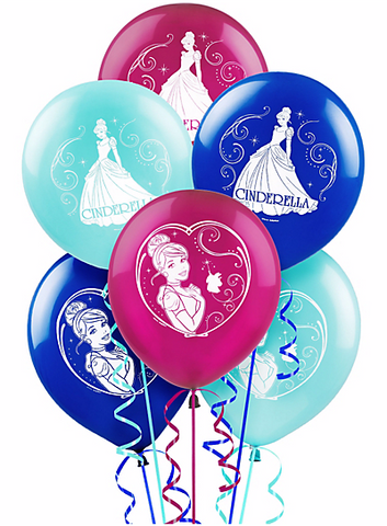 Disney Cinderella Printed Latex Balloons - Assorted Colors 6ct.