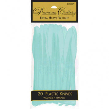 Robin's Egg Blue Premium Heavy Weight Plastic Knives 20ct.