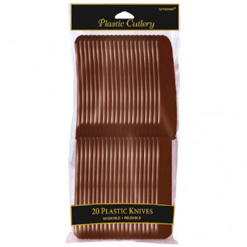 Chocolate Brown Plastic Knives 20ct.