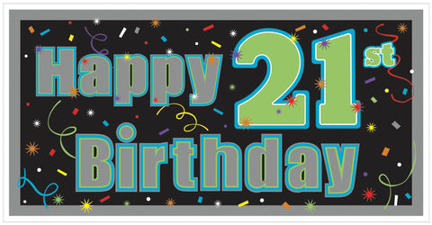 21st Brilliant Birthday Horizontal Sign Banner