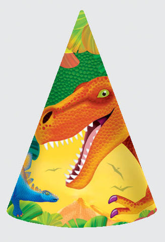 Prehistoric Dinosaurs Party Hats 8ct.