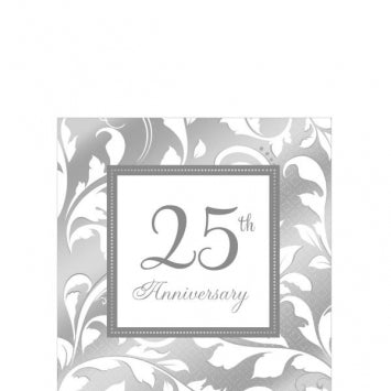 25th Anniversary Beverage Napkins 16ct.