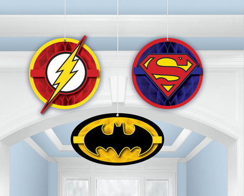 Justice League Honeycomb Decorations 3ct.