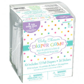 Baby Shower Diaper Game - 12 Diapers w/ 36 Stickers for 3 Games