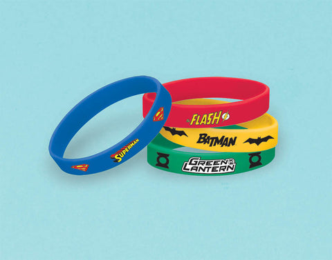Justice League Rubber Bracelet Favors 6ct.