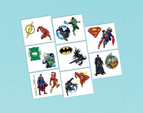 Justice League Tattoo Favors 1 Sheet 8ct.