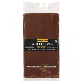 "Chocolate Brown 3-Ply Paper Table Cover 53"" x 108"""