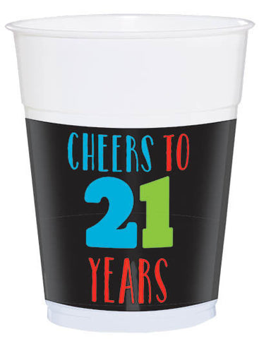 21st Brilliant Birthday Plastic Cups 25ct.