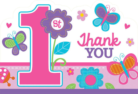 Sweet Birthday Girl Die-Cut Postcard Thank You Cards 8ct.